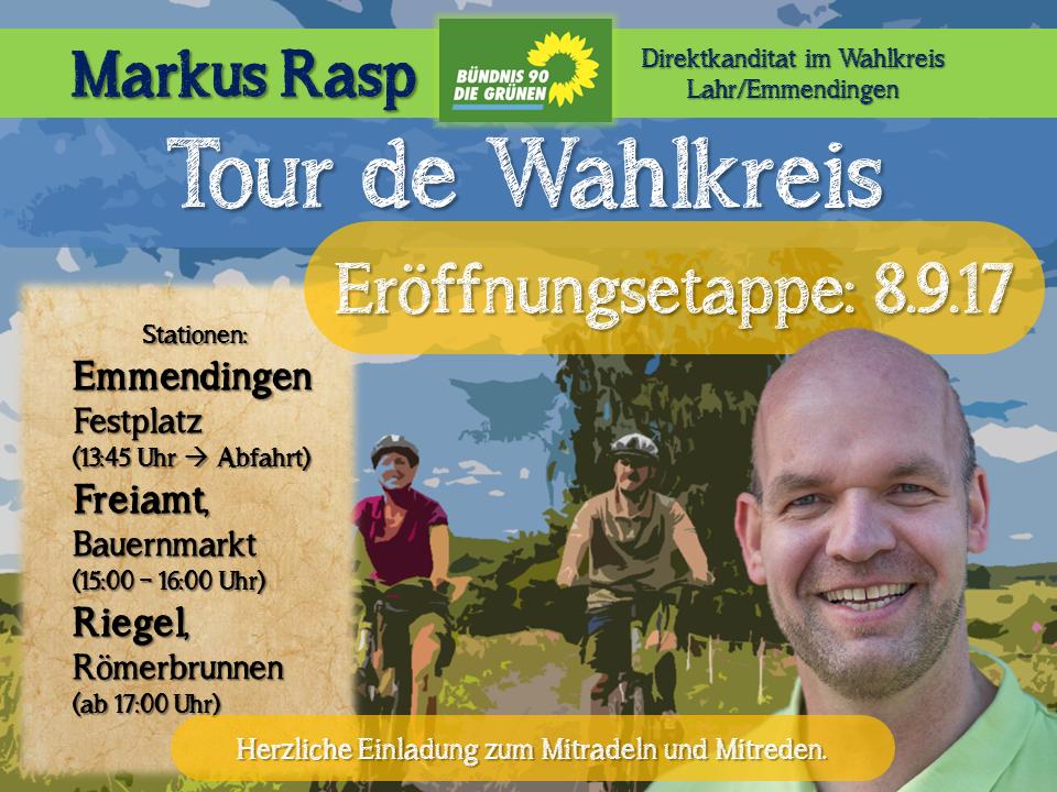Markus Rasp lädt zum Mitradeln und Gespräch ein!