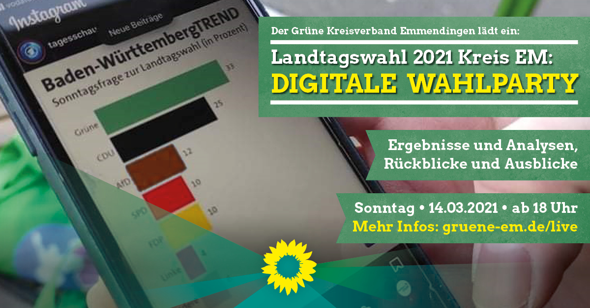 Landtagswahl 2021: Digitale Wahlparty der Grünen